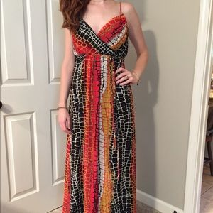 Red and Black Snake Print Maxi